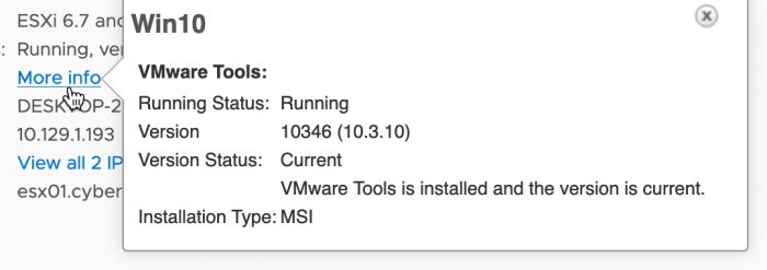 VMware Tools are current and patched